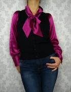 Elegancki sweter z satynową koszulą Marks and Spencer...