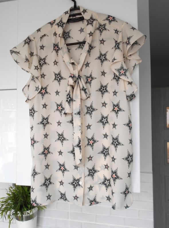 Zara bluzka gwiazdy kremowa wzory stars kokarda gwiazdki...