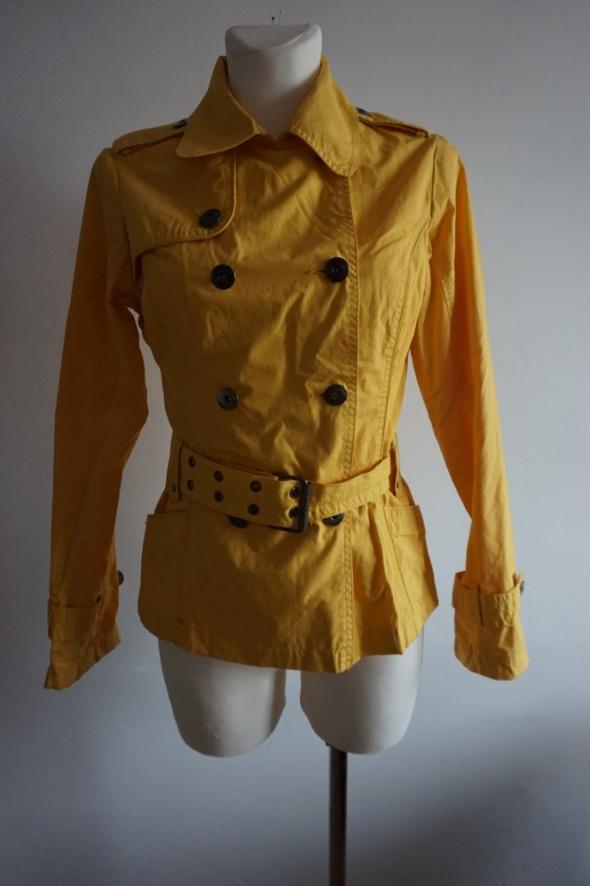 Elegancka kurtka trencz parka żółta limonkowa S