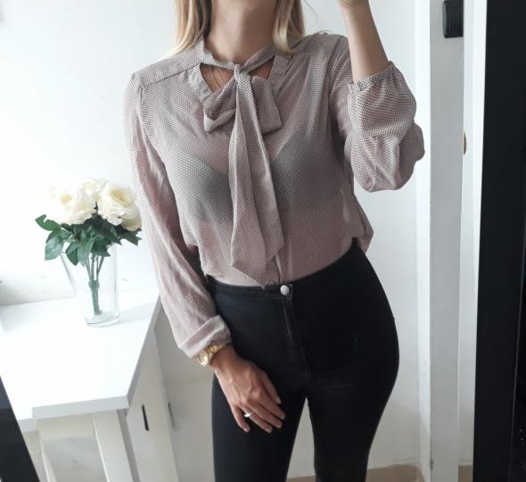 Next koszula róż z czarnymi gruszkami wiązany dekolt elegancka M