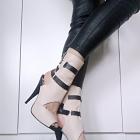 skórzane buty na szpilce river island beżowe z klamerkami