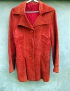 Skórzany pomarańczowy rudy płaszcz kurtka M 38...