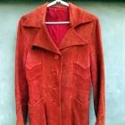 Skórzany pomarańczowy rudy płaszcz kurtka M 38