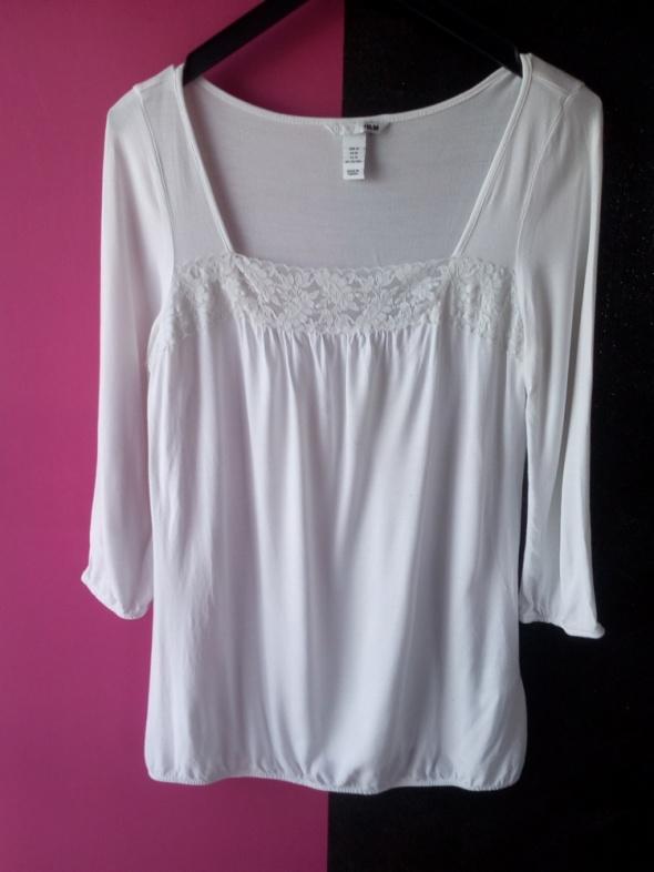 Biała bluzeczka z koronką H&M