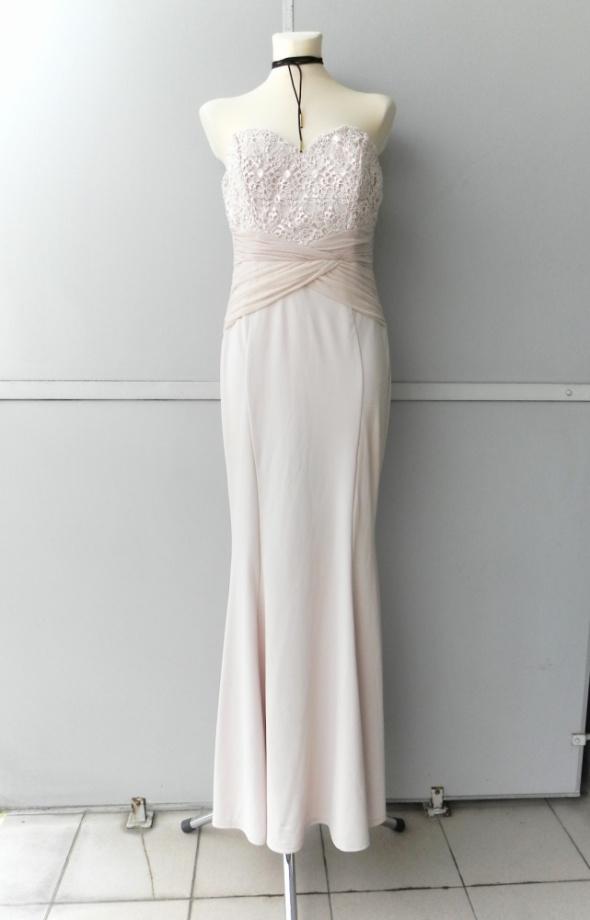 Lipsy London bezowa śliczna suknia syrena 42 cekinowa góra