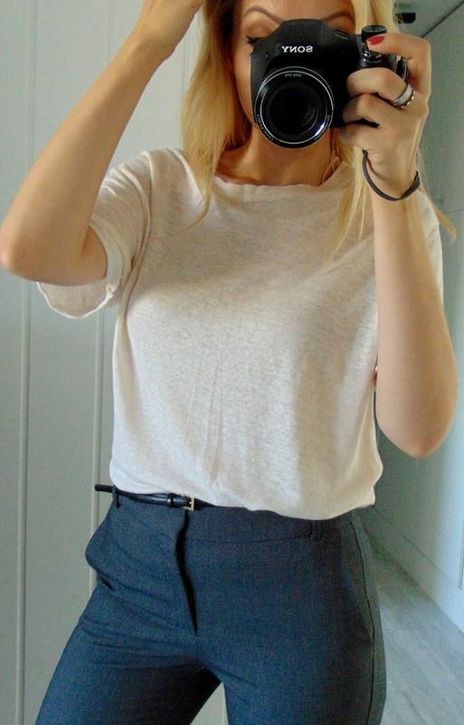 ZARA lniany pastelowy t shirt