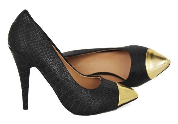 Szpilki wężowe czarne złoty szpic 37 złote noski