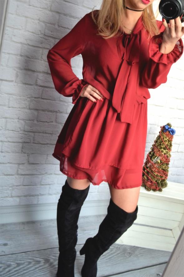 sukienka bordo kokarda mega rozkloszowana