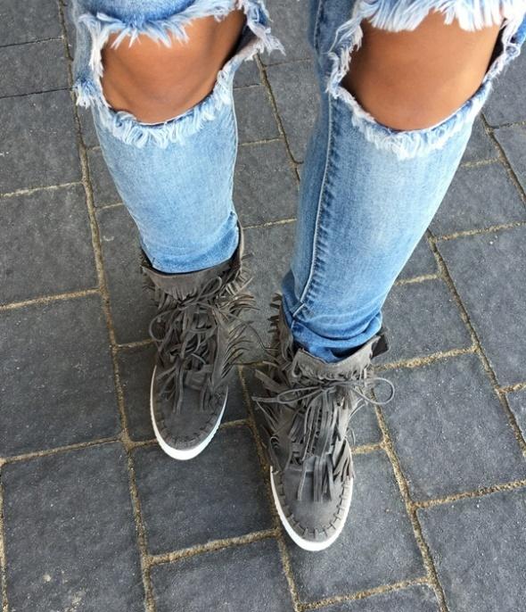 Sneakersy szare frędzle...