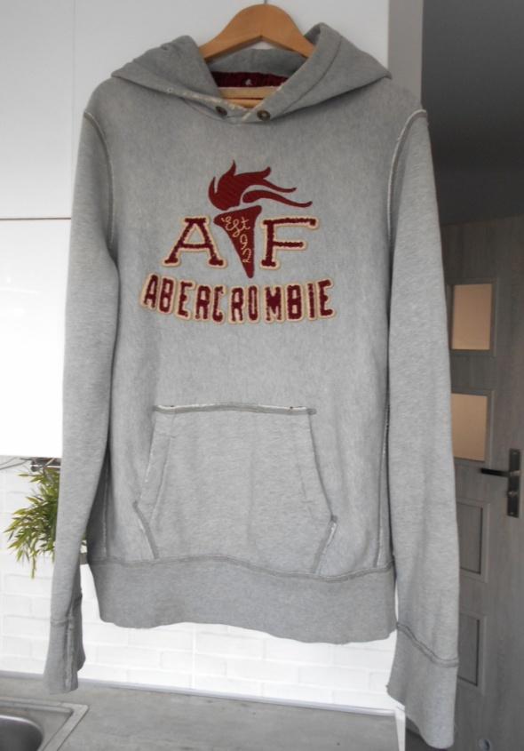 Abercrombie and Fitch męska szara bluza dresowa z kapturem
