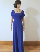 Piękna kobaltowa długa suknia sylwestraślub studniówka r M...
