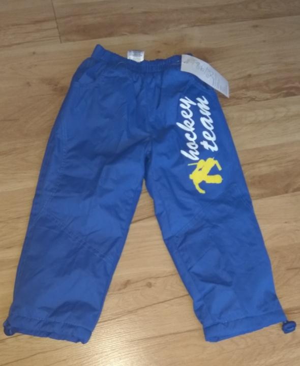 Nowe niebieskie ludzik ocieplane spodnie 86 92