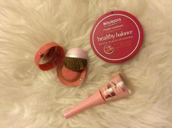 Bourjois zestaw kosmetyków do makijażu puder healthy mix balance pudrowy pastelowy lakier róż 54