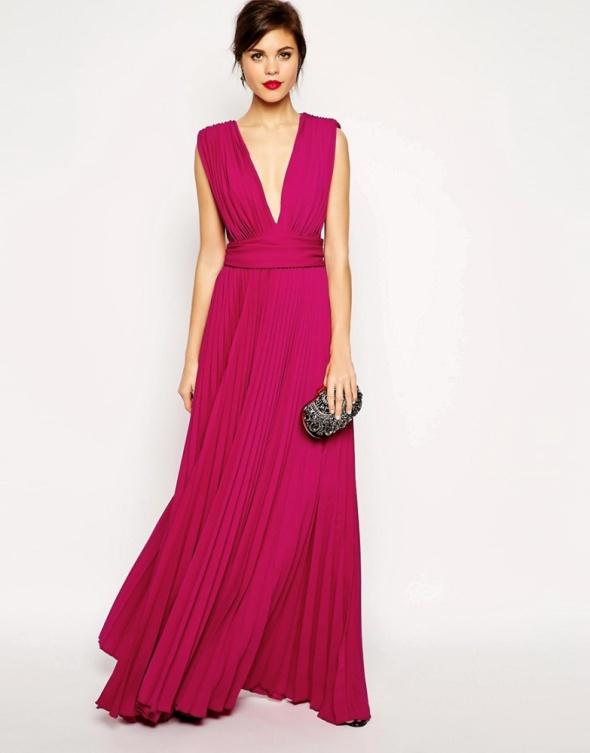 27a0f41746 Asos maxi malinowa plisowana suknia dekolt w Suknie i sukienki ...