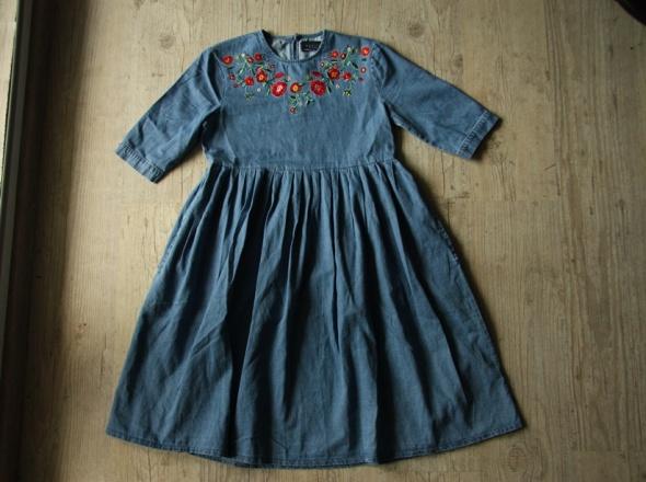Mohito sukienka jeansowa ciążowa hafty jeans kieszenie 34 36