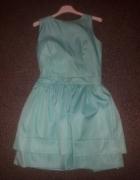 Rozkloszowana miętowa sukienka M