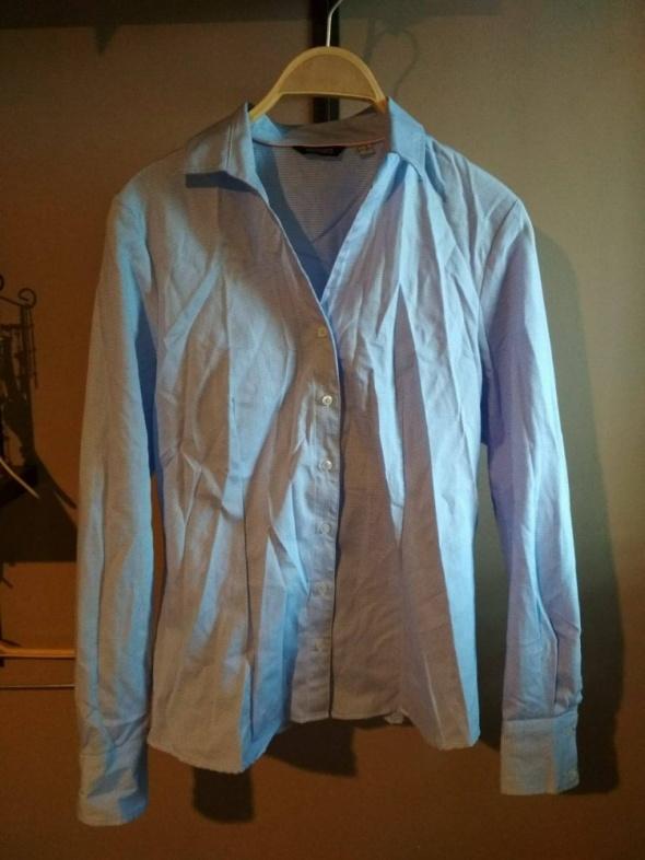 Koszula elegancka błękitna w delikatną białą pepitkę L esmara