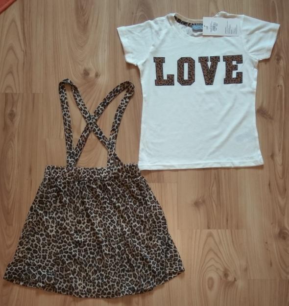 Nowy komplet bluzka i spódnica panterka Love Różne