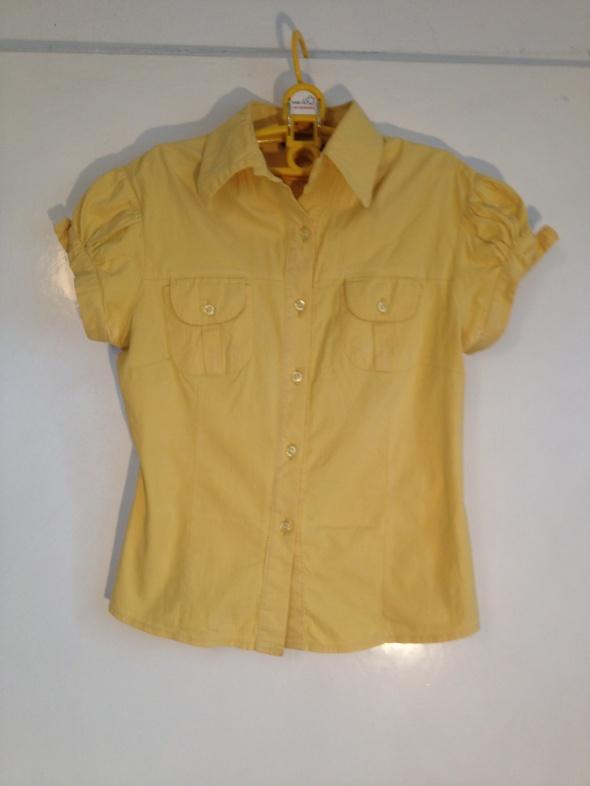 Żółta kanarkowy żółty koszula krótki rękaw taliowana S M 36 38 raz ubrana jak nowa