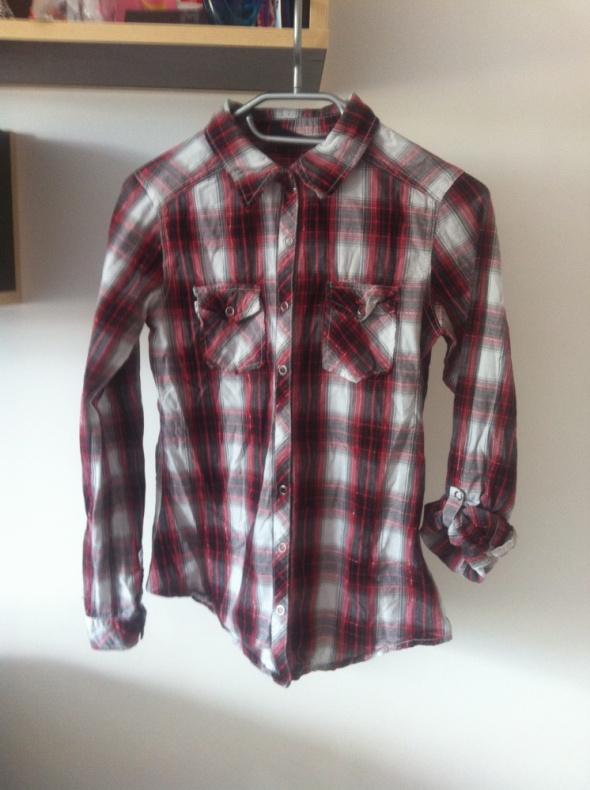 Koszula w czerwoną biało kratkę podwijane rękawy S