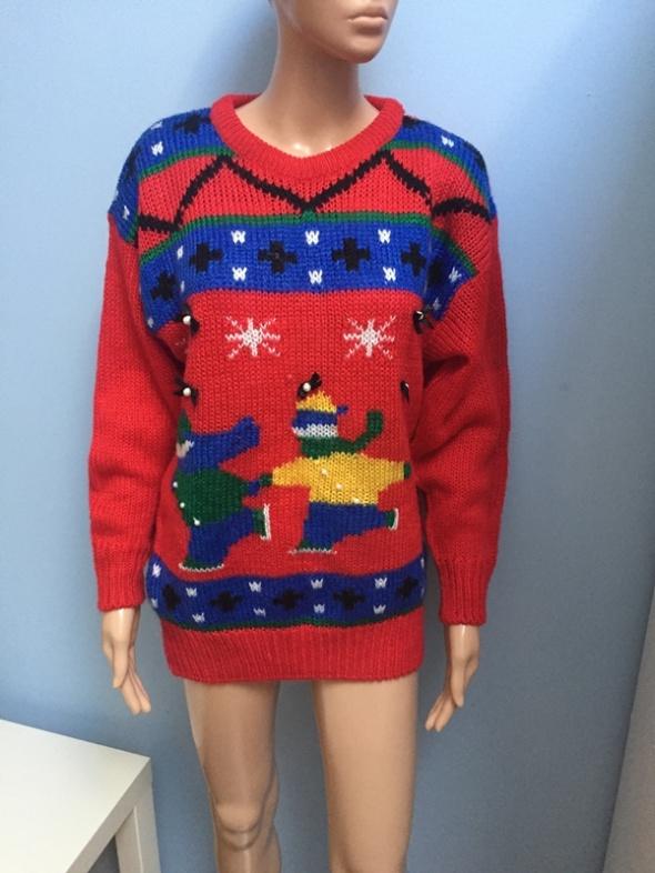 Czerwony świąteczny sweter M