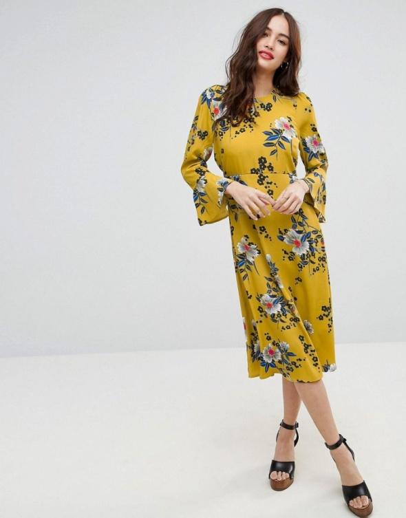 7d1f25850d Asos żółta sukienka kwiaty midi ciążowa w Suknie i sukienki - Szafa.pl