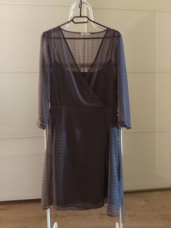 Suknie i sukienki PROMOD Dwuwarstwowa granatowa