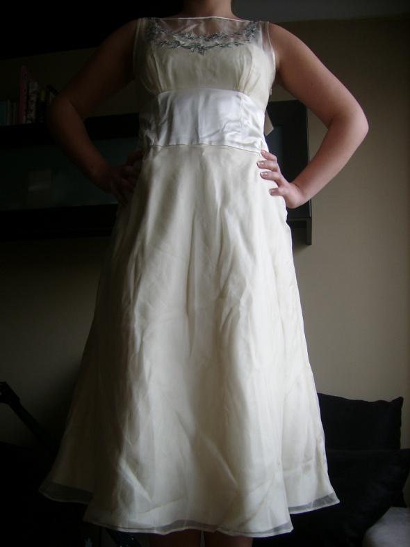 Monsoon nowa ślubna sukienka jedwab L...