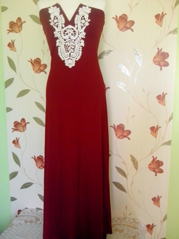 długa bordowa suknia bon prix 36 38...