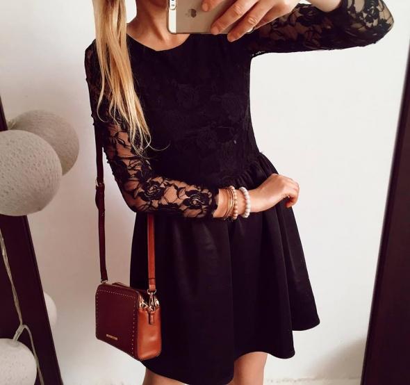 Czarna Sukienka Damska koronka kloszowana S M