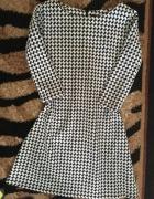 sukienka pepitka BLACK WHITE trapezowa S 36...