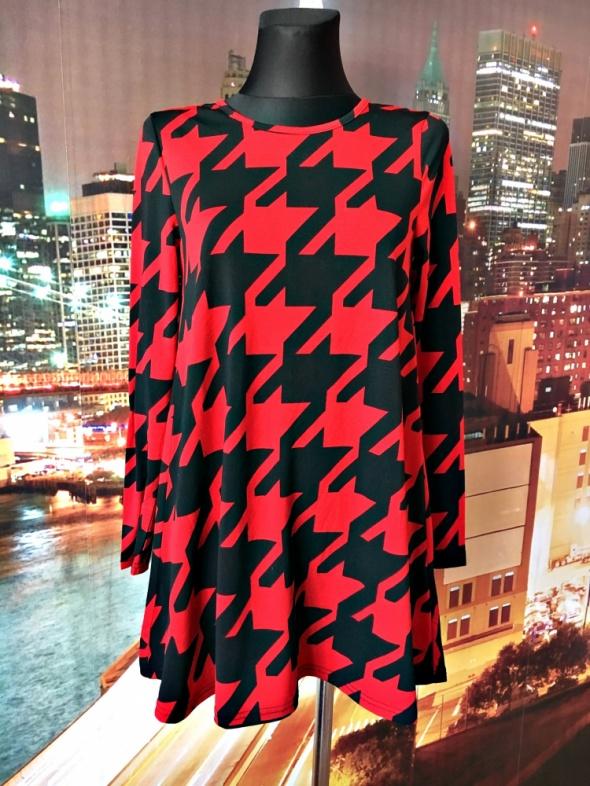 ax paris sukienka trapezowa modny wzór pepitka hit 36 S