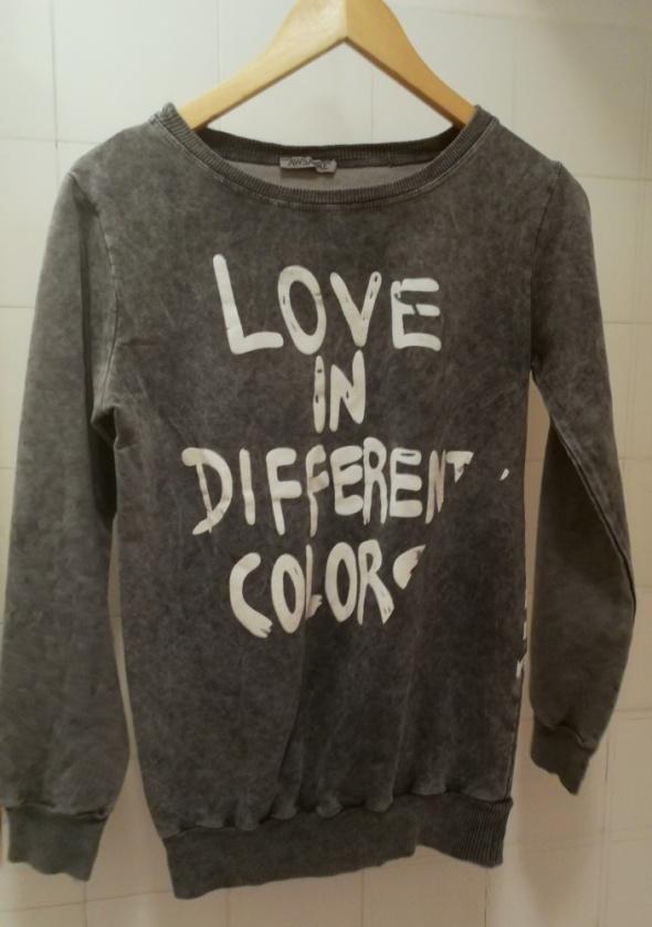 dresowa szara bluza dziewczęca napisy NOWA