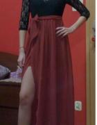 Długa suknia koronkowa z rozcięciem 34 36...
