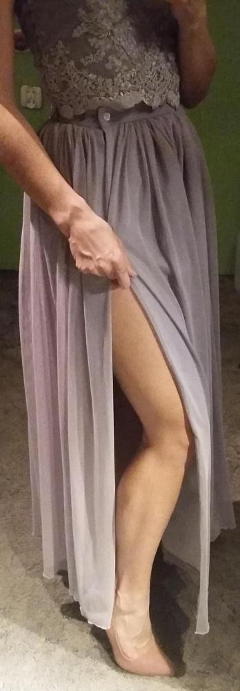 Sukienka Maxi długa z rozcięciem Sylwester Bal Studniówka Lucky Dots