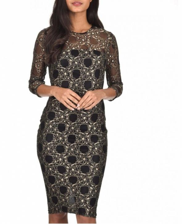 c76b1de070 Suknie i sukienki Czarno złota koronkowa sukienka ołówkowa midi z rękawem