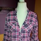 Koszula w kratkę różowa