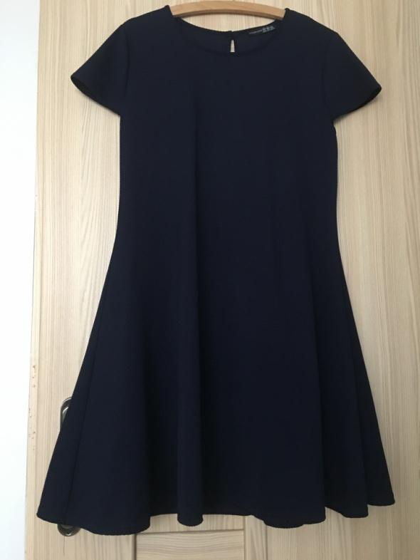 Granatowa sukienka trapez rozkloszowana 38 M 40 L luźna atmosph...