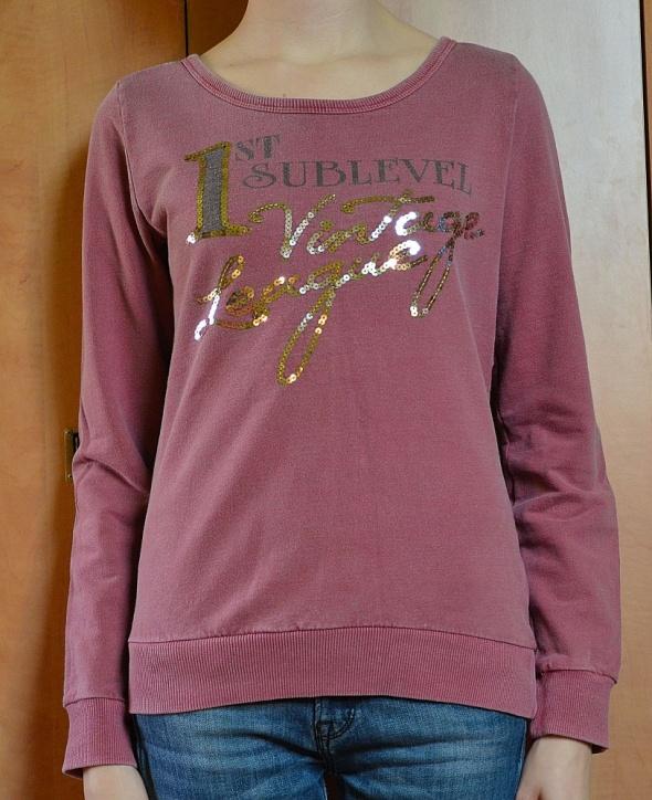 Bluza różowa z nadrukiem vintage złote cekiny...