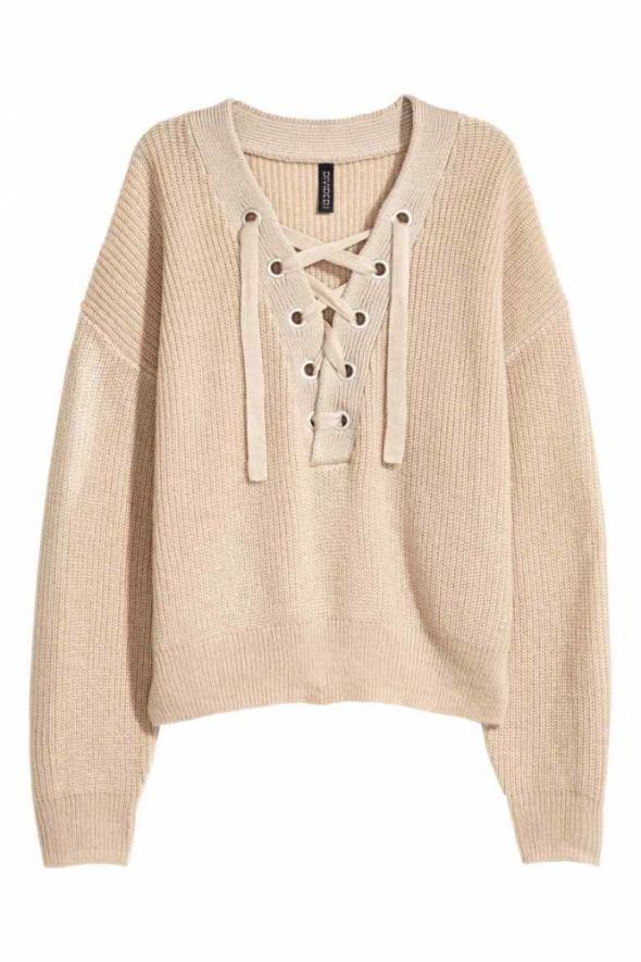 Nowy H&M sznurowany sweter beżowy s