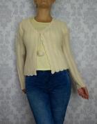 Wełniany ażurowy kremowy rozpinany sweterek sweter kardigan...