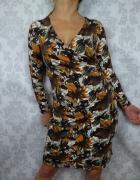 Ołówkowa brązowa sukienka w kwiaty na długi rękaw nowa Kettlewell