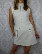 Biała trapezowa sukienka retro vintage BooHoo