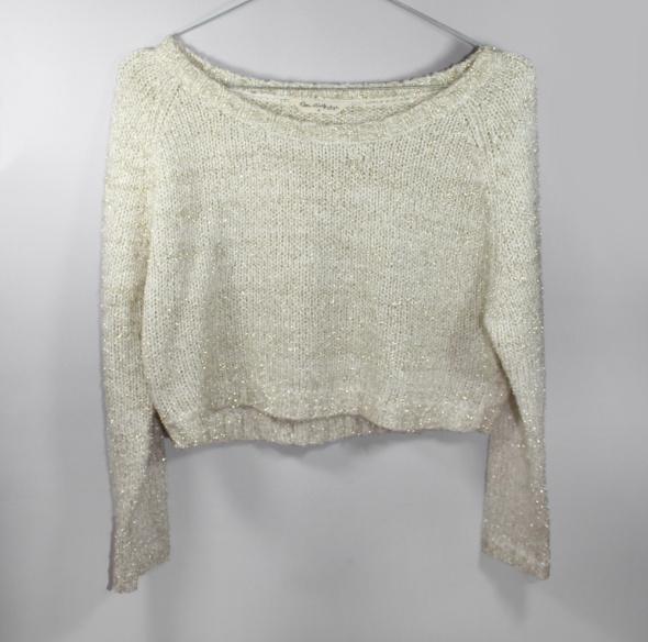 Błyszczący sweter croptop longsleeve ze złotą nitk...
