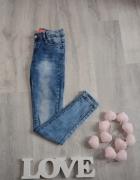Cudne jeansy rurki z wysokim stanem przecierane jak marmurki S ...