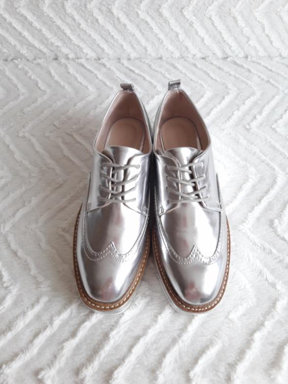 Srebrne buty na platformie Zara nowe bez papierowych metek rozmiar 38