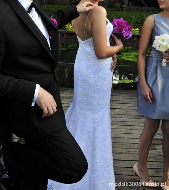 biała suknia ślubna w kształcie syreny 38 40