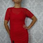 Czerwona ołówkowa dopasowana siateczkowa nowa sukienka H and M