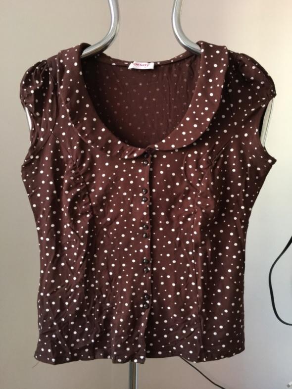 Brązowa bluzka ORSAY w kropki XL...