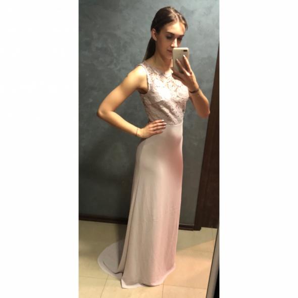 NOWA Suknia sukienka maxi długa pudrowa koronkakoronkowa tren wiązanie wiązana TFNC 36